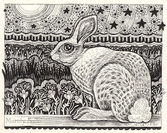 Rabbit Ink Drawing 22 - a whimsical black & white ink pen ART PRINT of a hare sitting in a beautiful flower garden under a starry sky