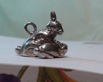 Solid sterling silver rabbit/bunny and baby bunny charm