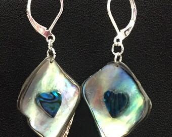 Paua Shell & Sterling Silver Heart Drop Earrings