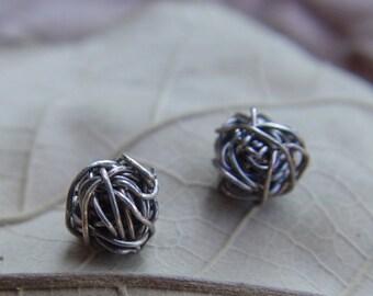 Small Sterling Silver Studs, Handmade Siver Stud Earrings, Wire Ball Post Earrings, Silver Studs Earrings, Black Stud Earrings