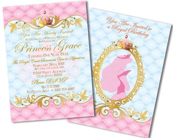 Princess Birthday Invitations, Disney Princess Invitations, Sleeping Beauty Invitations, Princess Party Invitations, 1st Birthday Invitation