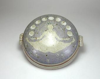 Moon Phase Sitting Goddess Covered Jar Butter Dish Lidded Storage Jar