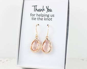 Blush Gold Teardrop Earrings, Peach Gold Earrings, Bridesmaid Gift, Wedding Jewelry, Bridesmaid Earrings, Champagne Bridal Accessories