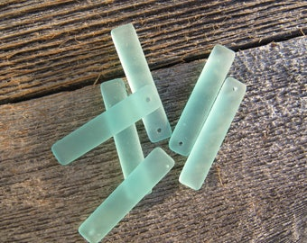 Sea Glass Elongated Puff Rectangle Pendant Earrings Seafoam Green 8mmx38mm (2)