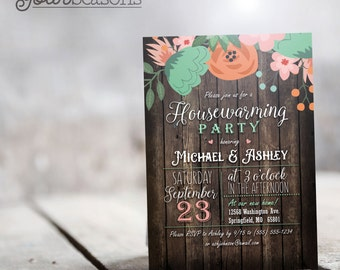Rustic Floral Housewarming Party Invitation - Personalized Printable DIGITAL FILE