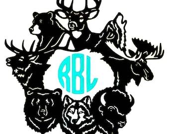 Wildlife Monogram Decal - Bear - Wolf - Buffalo - Deer - Moose - Elk - Choose Colors and Size - Window, Water Bottle Decal - Tumbler Sticker