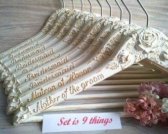 Bridal hangers Bridal party Bridesmaid hangers Personalized wedding hangers Custom hanger Wedding dress hanger Bride Gift Shabby chic hanger