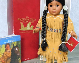 "Retired American Indian Girl Pleasant Company KAYA 18"" DOLL & Meet Outfit ""Meet Kaya"" Book, Hanger - Excellent Condition In AG Doll Box!"