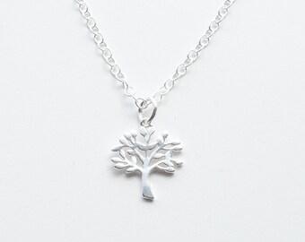Tree Necklace, Tree of Life Necklace, Tree Charm, Chain Necklace, 18 inch Necklace, Tree Jewelry, Silver Chain Necklace, Valentine Jewelry