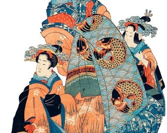Hand-cut wooden jigsaw puzzle. GEISHA & GIRLS JAPAN. Japanese woodblock print. Wood, collectible. Bella Puzzles.