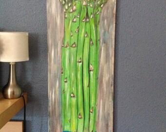 Asparagus acrylic painting