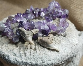 Amazing Amethyst And Fossil Tiger Shark Stretch Bracelet Pair