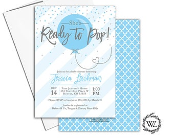 Ready to Pop Baby shower invitations for boys, printed or printable baby shower invites, blue and gray boy baby shower, stripes - WLP00774
