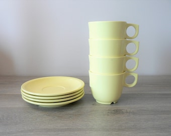 Vintage Pale Yellow Melmac Cup and Saucer Set of 4 - Stackable / Canadian Made 1958 Plastomer -  melamine camping cups melmac teacup set
