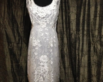 White Lace Sheath Dress/Wedding Dress/Handmade wedding Dress/Alternative Wedding Dress/Short Wedding Dress