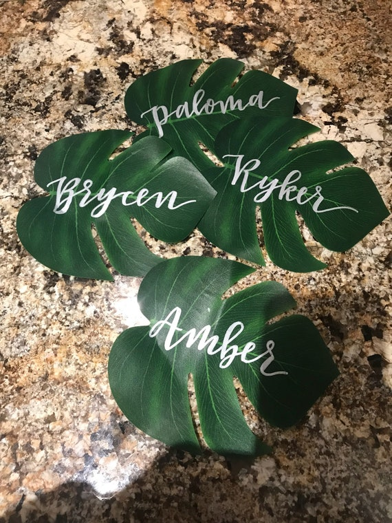 Personalized Faux Monstera Leaves Place cards