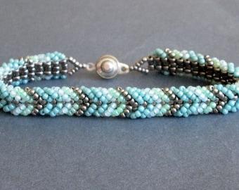 pastel bracelet, seed beads. teal bracelet. womens bracelet. gift for her. beaded bracelet. tribal bracelet. seed bead jewelry,