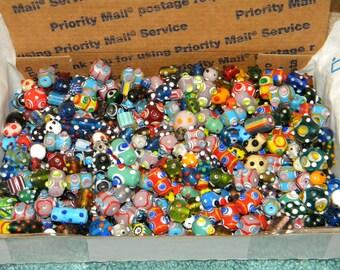 NEW 3 POUNDS Glass Bumpy Lampwork / Murano / Millefiori / Chevron  8mm-30mm Glass beads Random pick mix