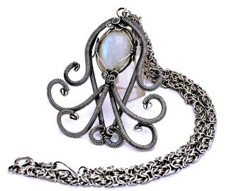 Chainmaille Necklace, Moonstone Necklace, Wire Wrap Pendant, Victorian Necklace, Bridal Necklace, Moonstone Pendant Necklace