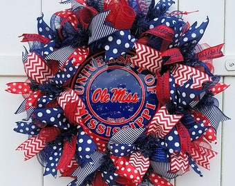 Ole Miss Wreath, University of Mississippi Wreath, Ole Miss Football Wreath, Rebels Football Wreath, Rebels Wreath, Ole Miss Door Wreath
