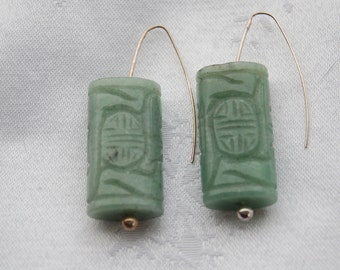 jadeite Asian fish hook earrings