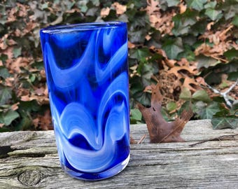 Blue white drinking glass 3