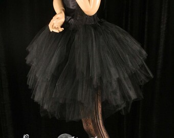 Black tutu tulle skirt Adult Three Layer Petticoat Midnight dance bridal wedding halloween goth bride - You Choose Size- Sisters of the Moon
