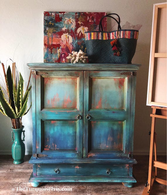 Hand Painted Solid Wood Armoire / TV Cabinet