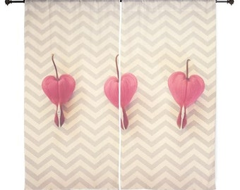 Sheer Curtains - Home Decor, Bleeding Hearts, Pink, Flowers, Blossoms, nature photography by RDelean Designs