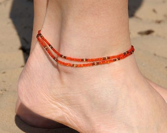 Beaded Anklet Double Wrap Anklet Boho anklet Beach anklet Bohemian anklet bracelet gypsy anklet summer anklet for her girlfriend gift ideas