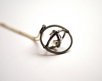 Pools of Light Orbital Necklace, Armillary Pendant, Kinetic Jewelry, Planetary Pendant, Sterling Silver and Quartz Sphere, Made to Order