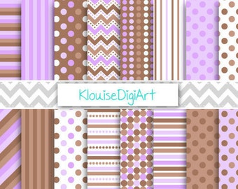 Brown and Purple Digital Patterns, Printable Papers, Stripes and Polka Dots, Two Tone, for Personal and Small Commercial Use (0102)