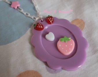 Strawberry necklace cameo