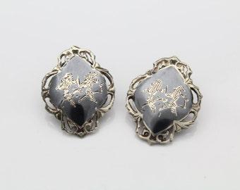Vintage Siam Sterling Silver Black Niello Clip Earrings. [1287]