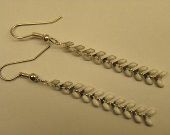 White glazed corn chain earrings