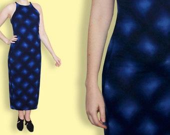 90s Maxi Dress -  Minimalist Blue Tight Tie&Dye Column Dress - Sea Side Blue Neon Seapunk Tie and Dye Sleeveless Mermaid  Long Dress
