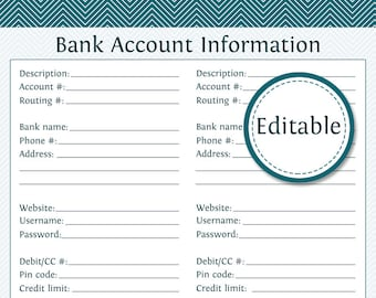 Bank Account Information - Fillable - Instant Download - Finance Printable PDF