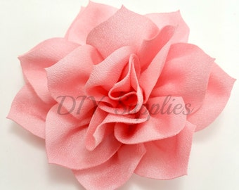 "3"" Light pink lotus fabric flower - Rose flower for headbands - Wedding hair clip flower - Wholesale chiffon flowers - Large pink flowers"