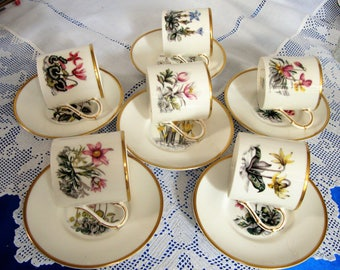 Vintage Royal Worcester Coffee Cup Set COUNTRY SIDE FLOWERS