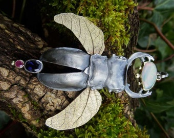 SOLD!  Stag beetle with gemstones