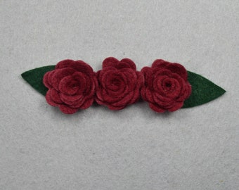 Hair Clip Barrette Made-To-Order -Red*Felt Flower, Felt Barrette Felt Clip, Flower Hair Clip, Artificial Flower, Fake Flower, Flower Clip