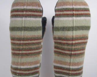 Shrunken Wool Sriped Mittens