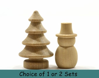 SMALL SNOWMAN and TREE Combo-Choice of 1 or 2 Sets (2 or 4 pieces)-Unfinished Natural Hardwood-Finely Sanded