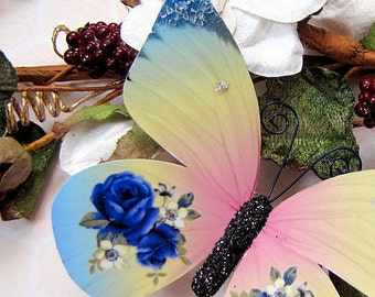Butterfly Embellishments Rainbow Rose In Blue