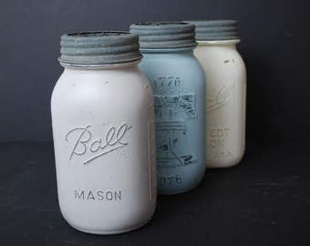 Mason Jar-Farmhouse Decor Kitchen-Mason Jar Decor-Rustic Mason Jar-Painted Mason Jar-Distressed Mason Jar