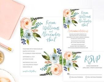Watercolor Floral Wedding Invitation Set, Rustic Wedding Invitation Suite, Printable Wedding Invitation, Boho Wedding Invitation, WTRFL