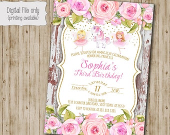 Fairy Birthday Invitation, Fairy Garden Invitation, Fairy and Unicorn Woodland Invitation, Boho Chic, Shabby Chic, Watercolor, Vintage