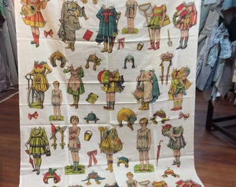 """LAST PIECE 90""""inches  """"Paper Dolls"""" by Design Legacy print fabric"""
