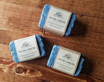 Tea Tree & Activated Charcoal Soap Bars, Detox Soap, Acne Soap, Excema Soap, Shampoo Bars, Face Soap, All Natural Soap, Made In Montana