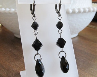 Swarovski Jet Black Crystal Briolette Long Dangle Earrings with Gunmetal
